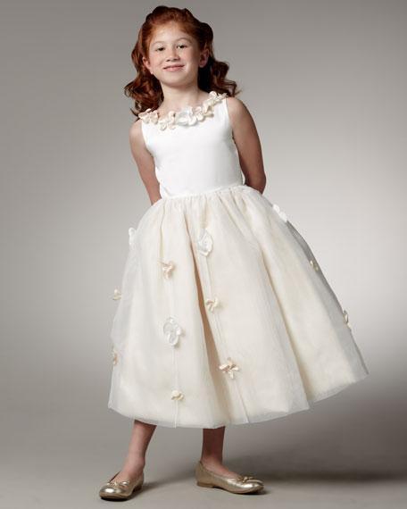 Satin & Organza Flower Dress, Sizes 2-6X