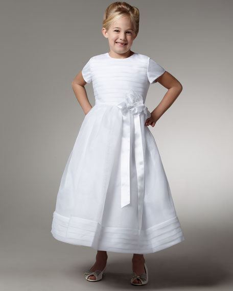 Organza & Satin Cap-Sleeve Dress, Sizes 7-14