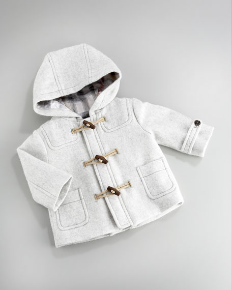 Hooded Duffle Coat, Pale Gray