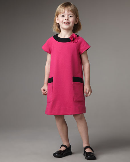Flower-Pin Ponti Dress, Sizes 7-10