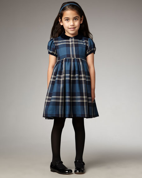 Plaid Gathered Dress, Blue