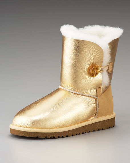 Bailey Button Short Boot, Gold, Toddler