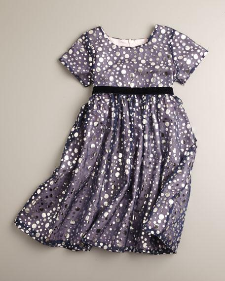Foil-Print Dress, Sizes 2T-4T