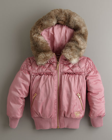 Puffer Coat with Faux-Fur Hood, Sizes 2-6
