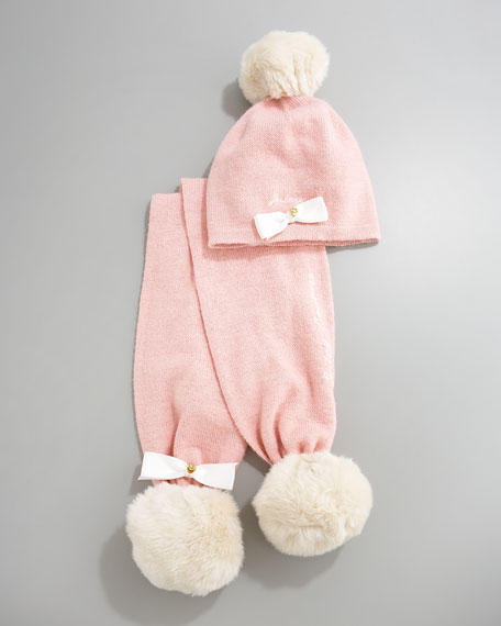 Faux-Fur Pompom Hat and Scarf Set