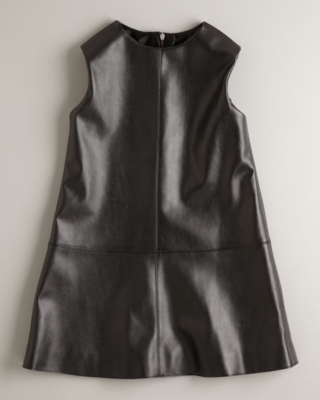 Faux-Leather A-Line Dress, Sizes 4-6X