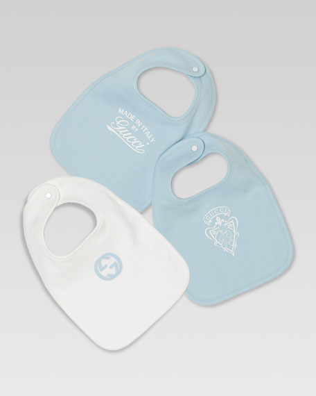 Set of Three Logo Bibs, White/Light Blue