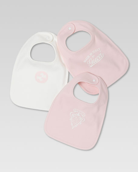 Set of Three Logo Bibs, White/Light Pink
