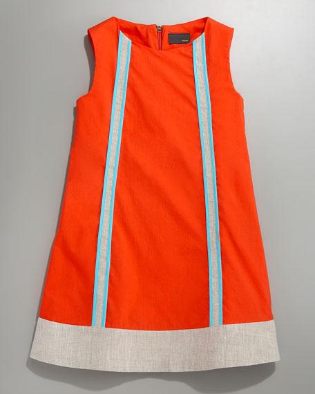 Contrast-Panel Shift Dress, Sizes 2-5