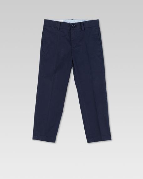 Stretch Gabardine Flat-Front Pants