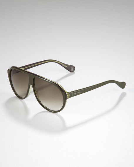 Children's Oversized GG Aviator Sunglasses, Olive/Purple