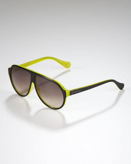 Children's Oversized GG Aviator Sunglasses, Black/Yellow