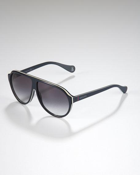 Children's Oversized GG Aviator Sunglasses, Blue/Cream/White