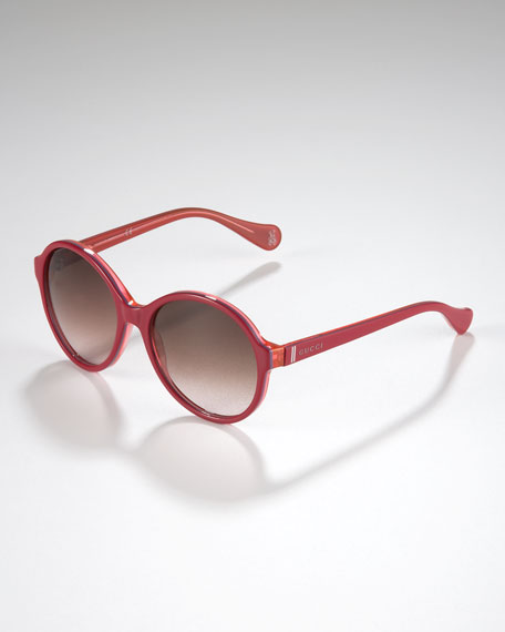 Children's Oversized Glam GG Sunglasses, Cherry/Purple