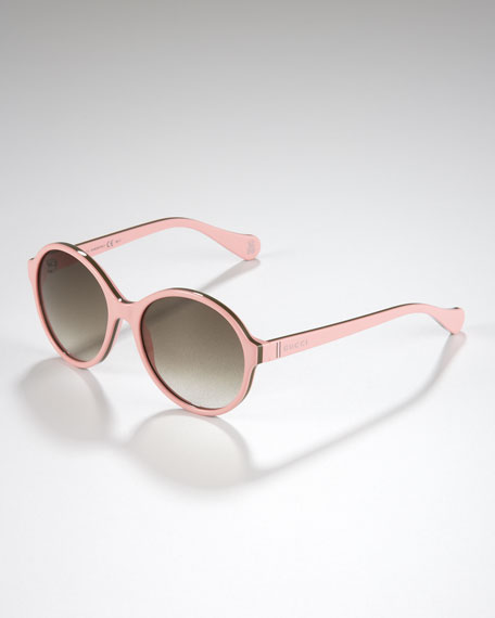 Children's Oversized Glam GG Sunglasses, Pink/Green/Pink