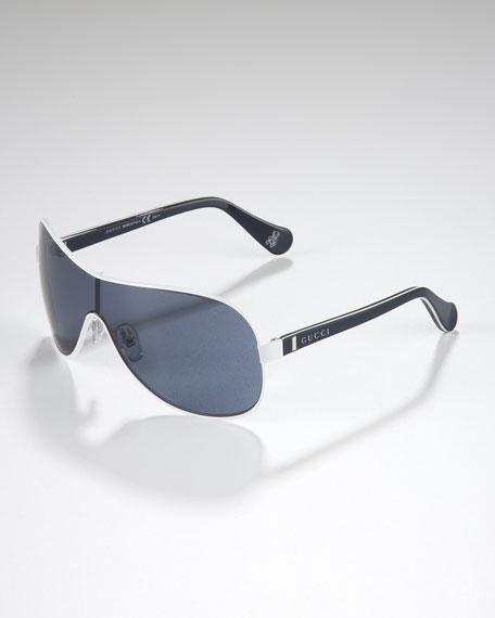 Children's Metal-Rimmed Shield Sunglasses, White/Blue/Beige