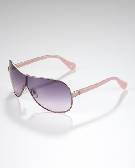 Children's Metal-Rimmed Shield Sunglasses, Pink - India/Pink