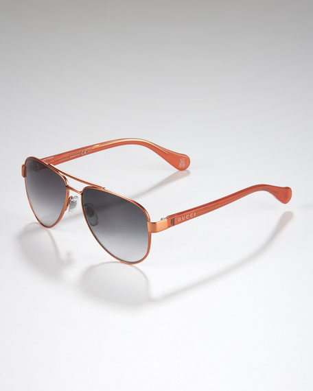 Children's Classic Aviator Sunglasses, Orange/Begonia