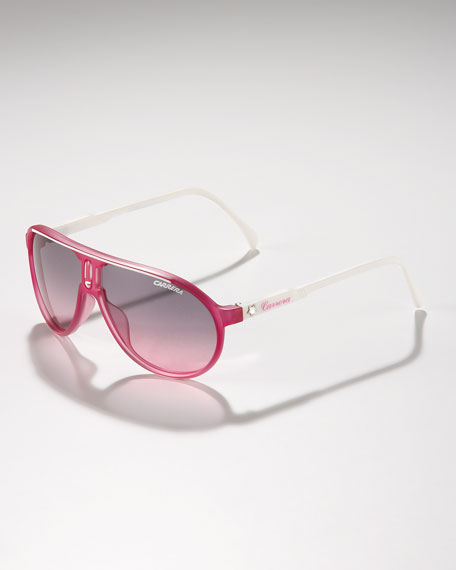 Children's Classic Champion Aviator Sunglasses, Fuchsia/White