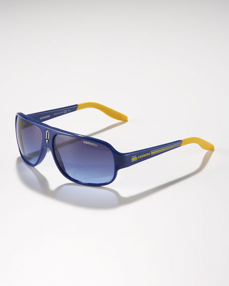 Children's Mid-Size Classic Carrerino Sunglasses, Blue/Yellow