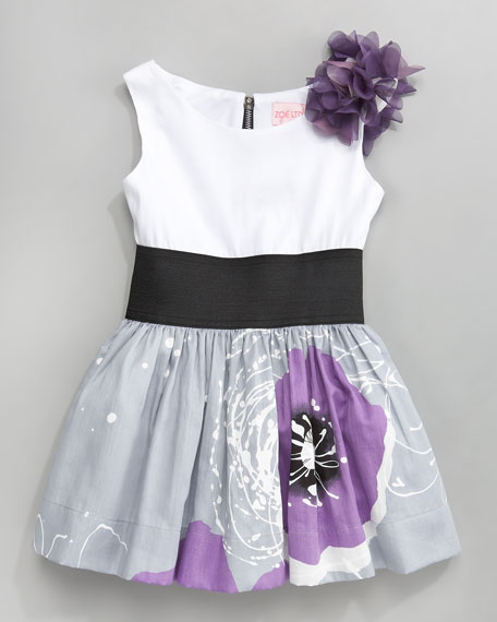 Poppy-Print Dress, Sizes 2-6