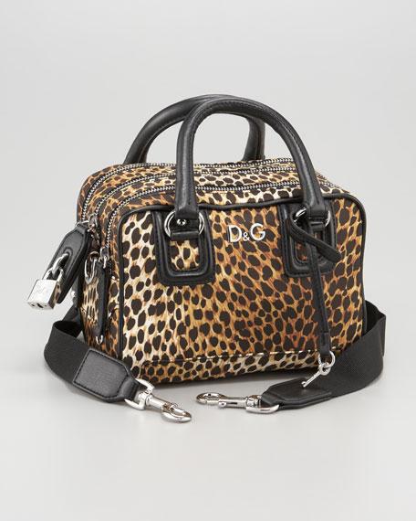 Triple-Zip Ocelot-Print Handbag