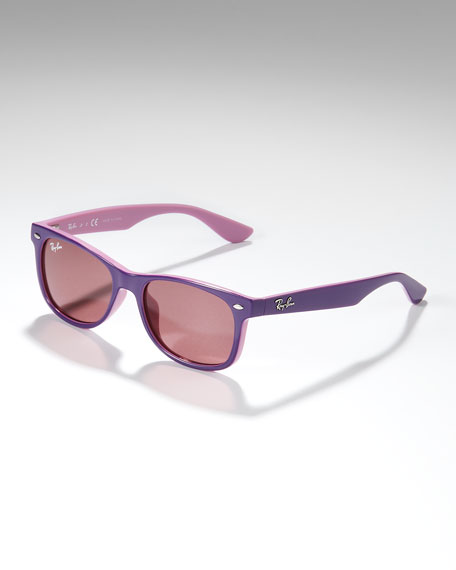 Two-Tone Wayfarer Sunglasses, Purple