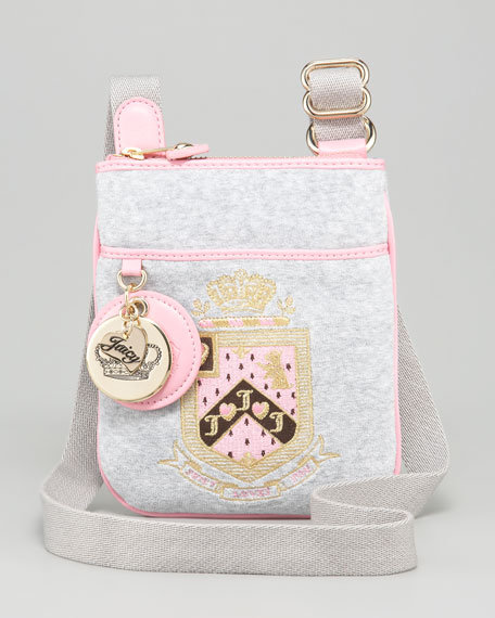 Crest-Embroidered Crossbody Bag