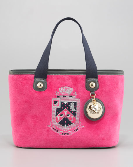 Crest-Embroidered Tote Bag, Dragon Fruit