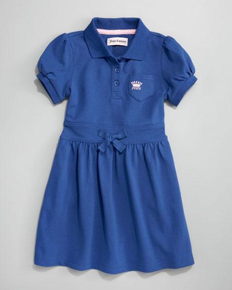 Pique Polo Dress, Nautical Blue