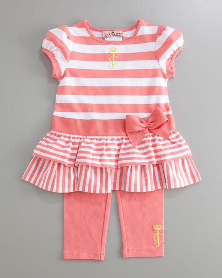 Striped Play Set with Juicy Monogram, Pink