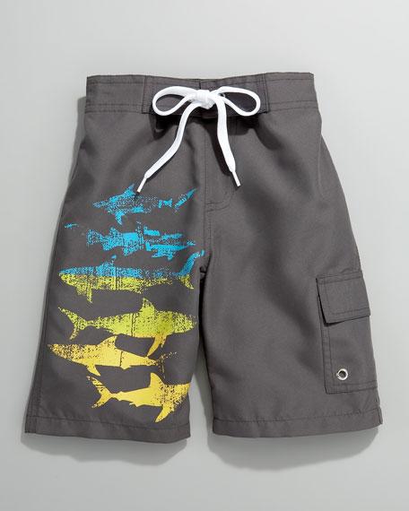 Shark-Print Surf Shorts, Infant