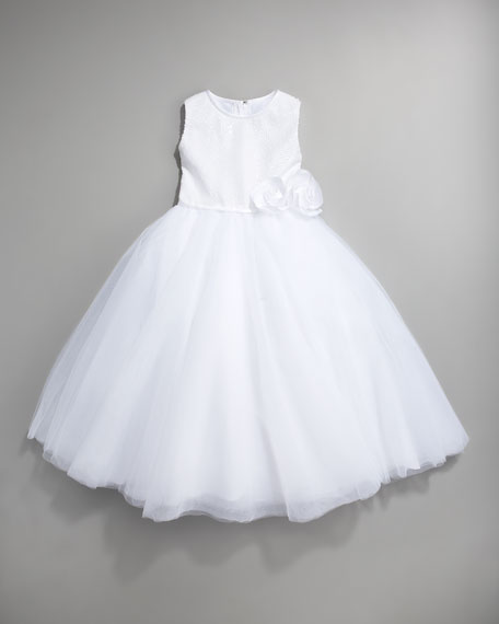 Sequin Tulle-Skirt Dress, White, Size 2-10