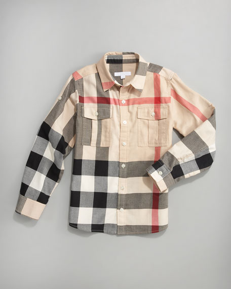 Giant-Exploded Check Shirt, Sizes 7Y-10Y