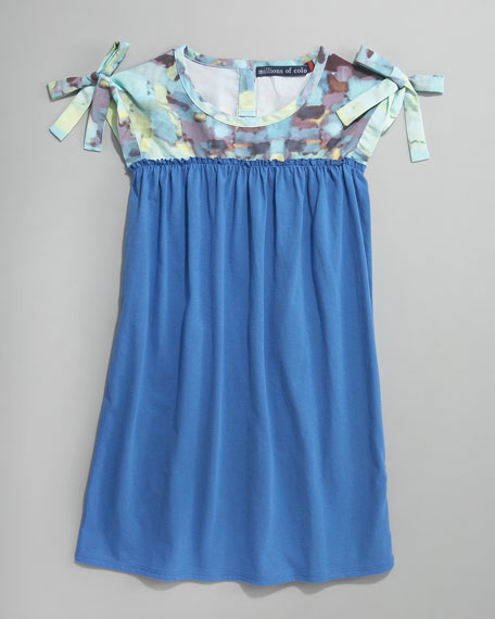 Watercolor-Print Dress, French Blue