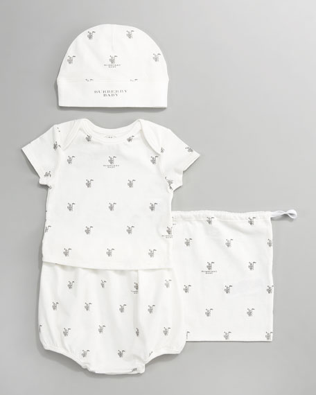 Printed Hat and Tee Set, Off-White/Mid Gray