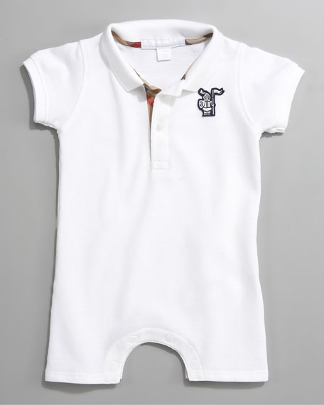 Short-Sleeve Polo Bodysuit, White