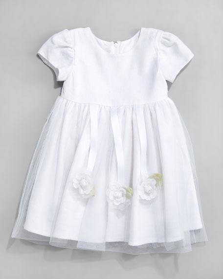 Violet Cap-Sleeve Dress, White