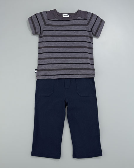 Slub Striped Tee with Pants