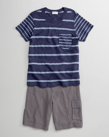 Chambray Mixed-Stripe Tee and Cargo Shorts Set, 3-24 Months