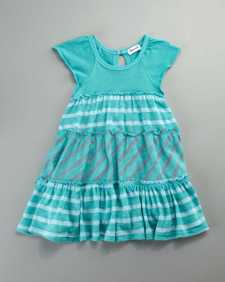 Multi-Stripe Tiered Dress