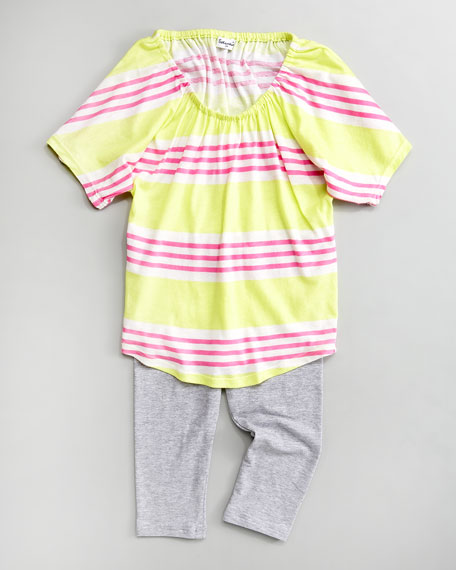 Palm-Stripe Tunic and Leggings Set, Sizes 2T-4T