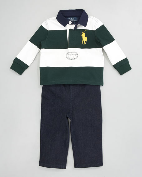 Striped Rugby Shirt & Jeans Set
