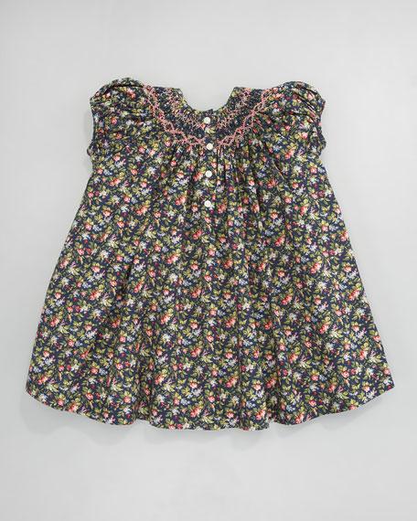 Smocked Floral-Print Dress