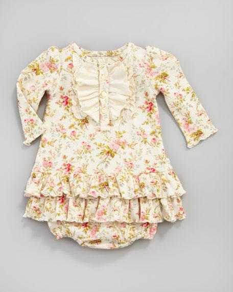 Floral-Print Waffle Dress
