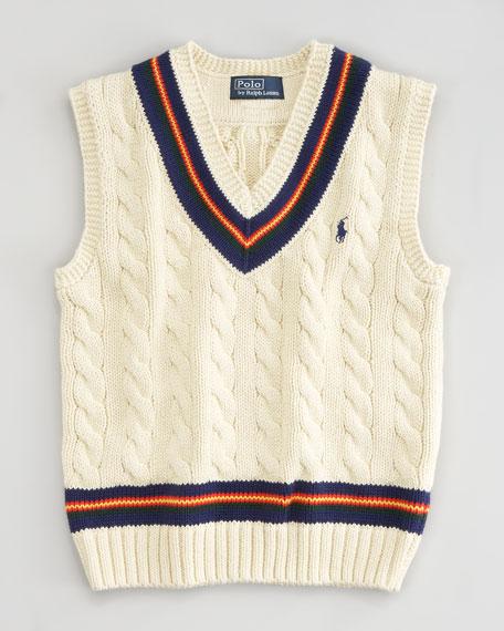 Cricket Cable V-Neck Vest,Sizes 8-10