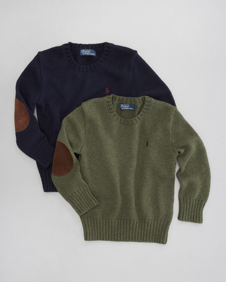 Elbow-Patch Crewneck Sweater, Sizes 2-7