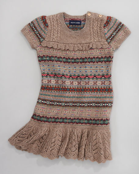 Ruffle-Skirt Pointelle Dress