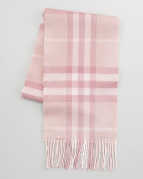 Exploded Check Cashmere Scarf, Dusty Blossom