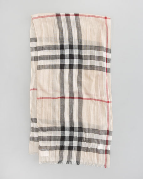 Exploded Check Gauze Scarf